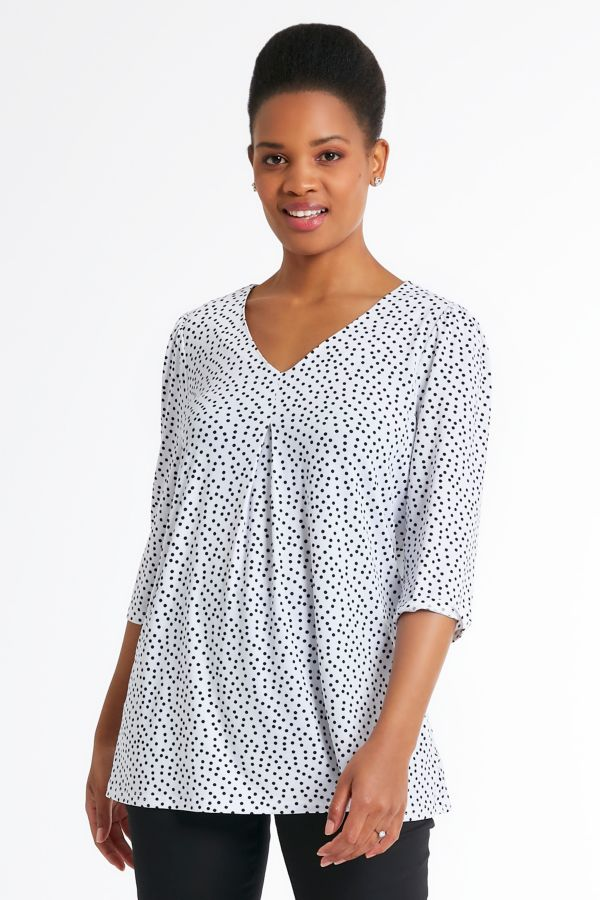 V-NECK SPOTTED TRAPEZE TOP