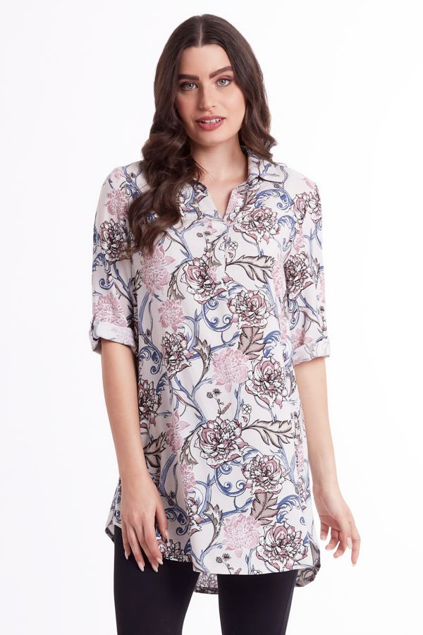 FLORAL HENLEY TUNIC