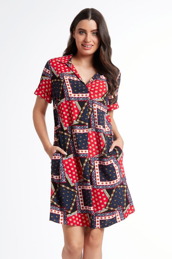 PRINTED HENLEY DRESS