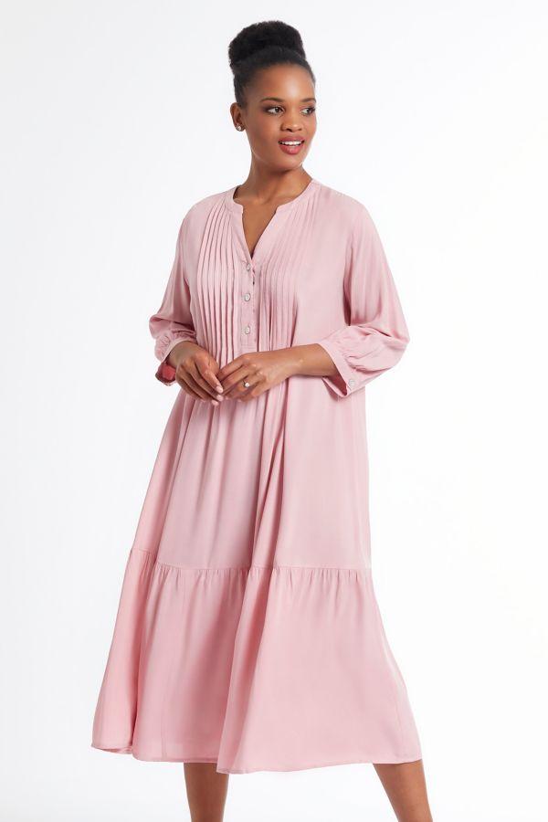 PLEATED A-LINE DRESS