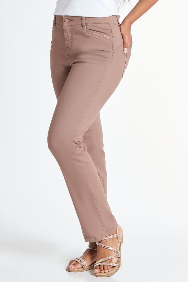 WONDERFIT STRAIGHT LEG DENIM JEANS - Taupe