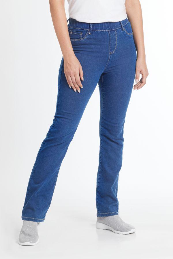 STRAIGHT LEG PULL ON DENIM JEANS - Blue