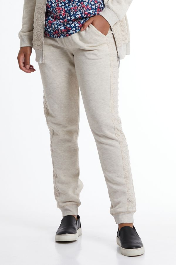 BRUSHED FLEECE QUILTED TRACKPANTS
