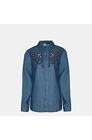CUT OUT DENIM SHIRT