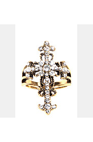 DIAMANTE CROSS RING