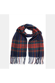 CHECK PRINT FRILLY SCARF