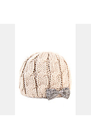 CABLE KNIT BOW BEANIE