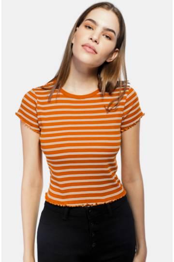Stripe Fitted Lettuce Hem T-shirt