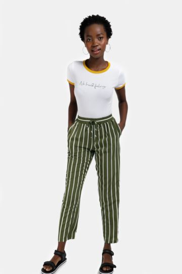 Stripe High Waist Pants