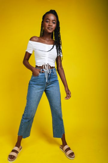 High Waist Straight Fit Jeans