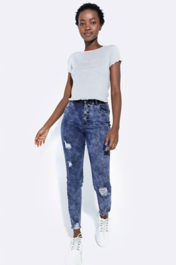 High Waist Button Up Jeans