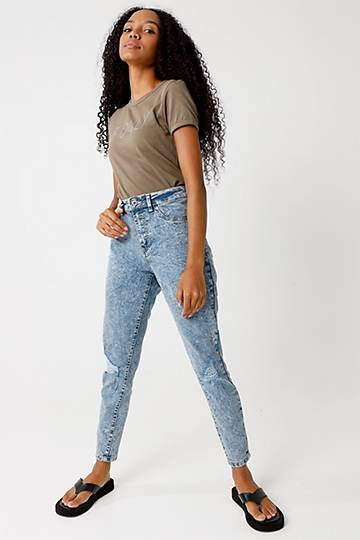 Abraised Tube Jeans