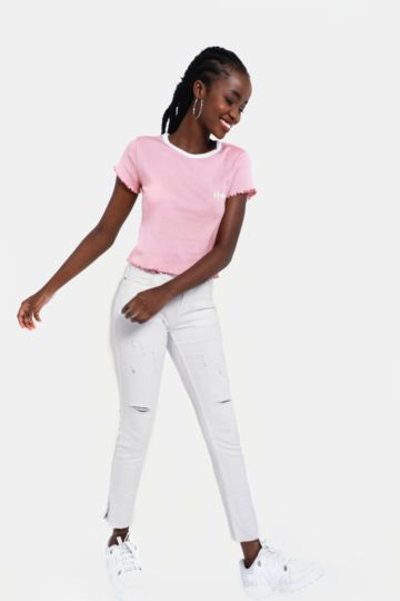 Abraised Skinny Fit Jeans