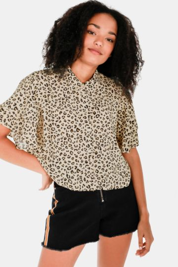 Animal Print Batwing Shirt