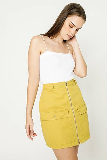 Zip Up A-line Skirt