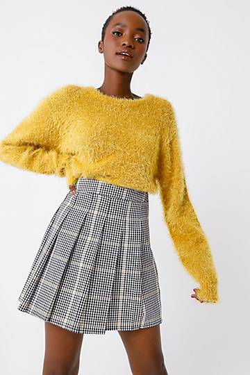 Check Pleated A-line Skirt