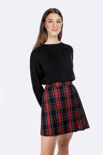 Check Pleated Mini Skirt