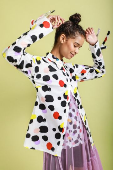 Polka Dot Puff Sleeve Shirt