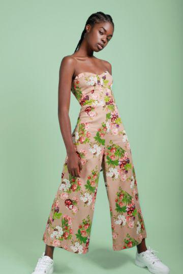 834c657ba57 Floral Strapless Jumpsuit