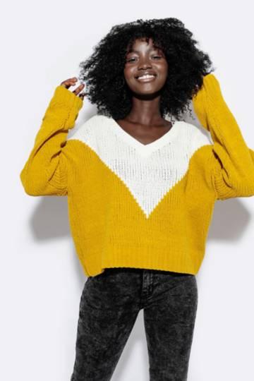 Colour Block Chenille Pullover