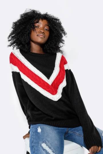 Chevron Slouchy Pullover