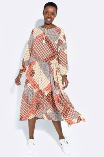 Patchwork Pattern Trapeze Dress