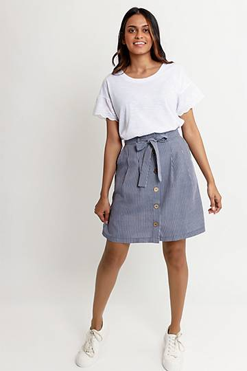 Stripe Button Up Skirt