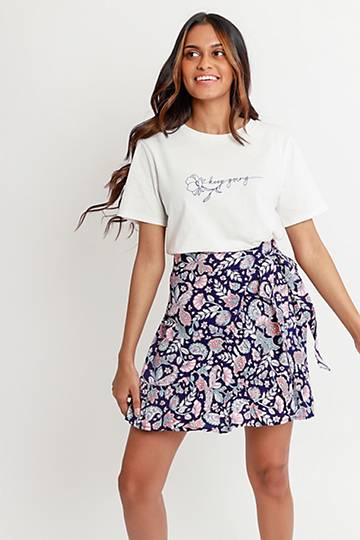Floral Wrap Mini Skirt
