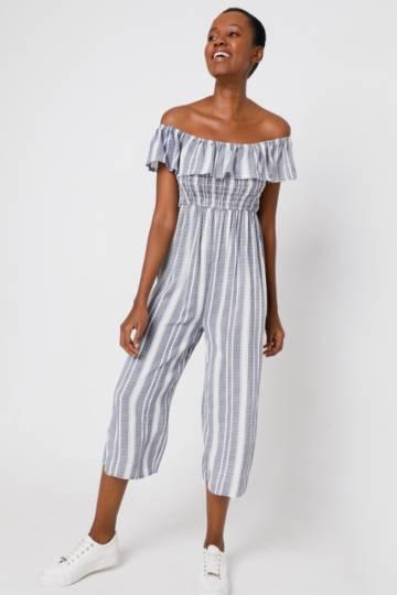 Stripe Off Shoulder Jumpsuit