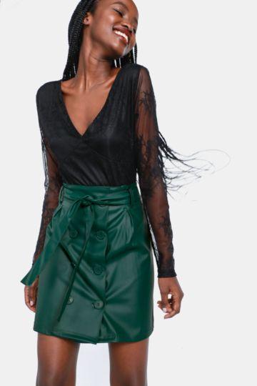 Button Up A-line Skirt