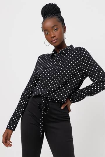 Polka Dot Tie Front Shirt
