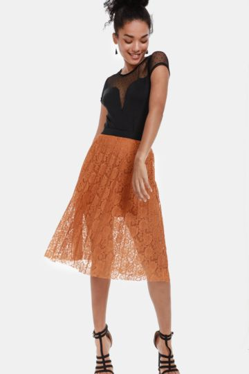 Pleated Lace Skirt 5591786e6