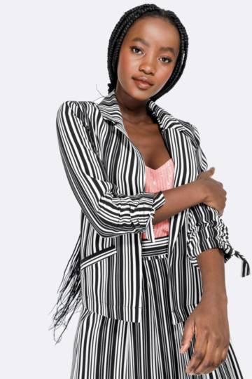 Stripe Ruched Blazer