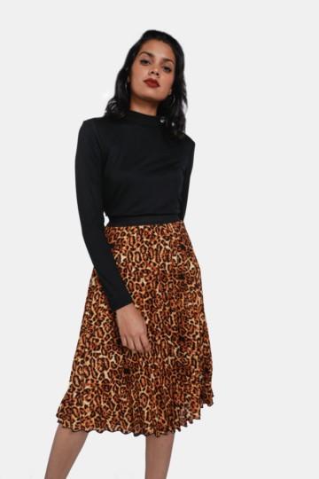 4e6877dfc9c Animal Print Pleated Skirt