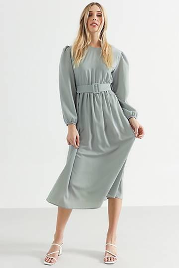 Drop Waist Belted Dress