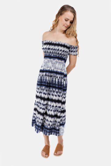 Pattern Off The Shoulder Midi Dress