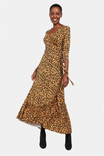 Animal Pattern Wrap Dress