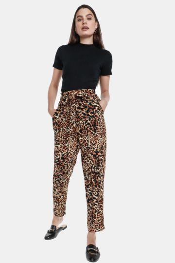 Animal Print Paperbag Pants