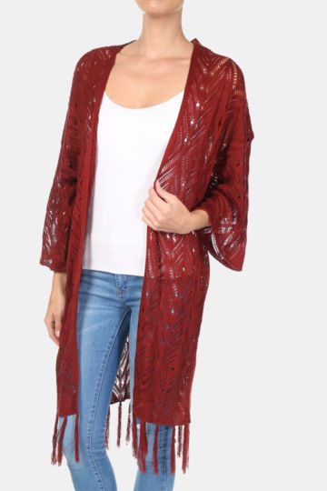 Longer Length Tassel Cardigan