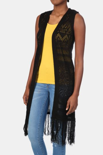 Longer Length Crochet Gilet