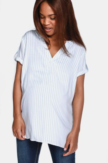 Maternity Stripe Henley Shirt