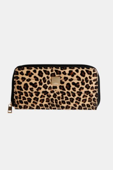 Quilted Animal Print Zip Around Purse