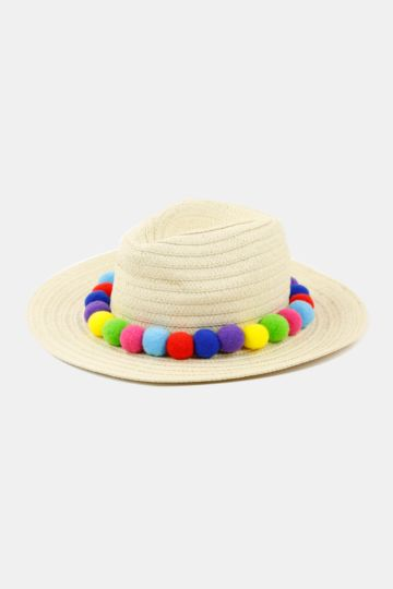Pom Pom Fedora Hat