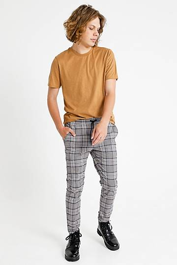 Skinny Fit Check Pants