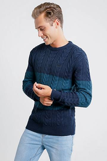 Cable Knit Colour Block Pullover