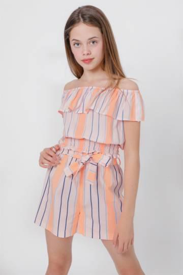 Stripe Paperbag Shorts