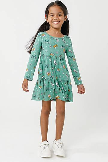 Printed Long Sleeve Trapeze Dress