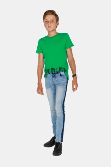 Side Tape Skinny Jeans