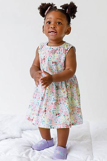 Floral Print Dress And Bloomers Set