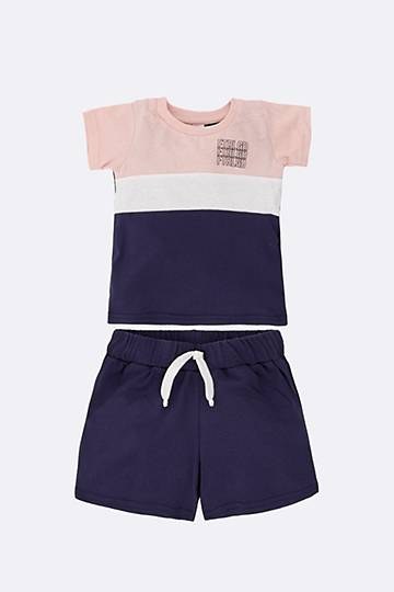 Colour Block Tee And Shorts Set